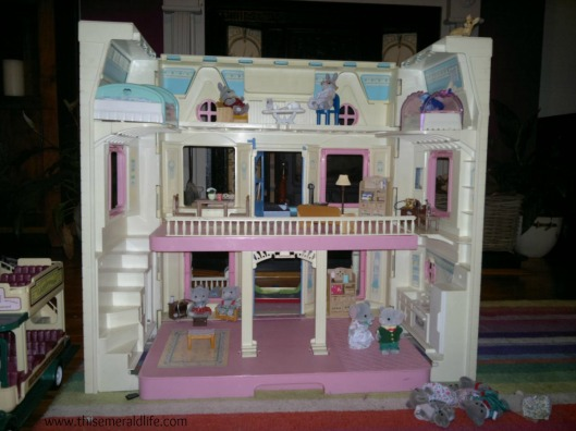 Dolls house converted to apartments for Sylvanians.
